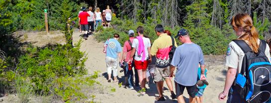 Visitors on a popular Nature Walk, Sandbanks Provincial Park